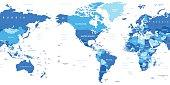 World Map - America in center