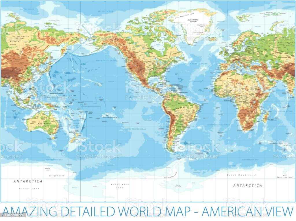 Picture of: World Map American View Physical Topographic Vector Detailed Illustration America In Center Stock Illustration Download Image Now Istock