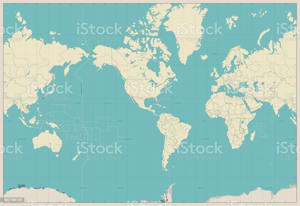 world map americas centered map old colors royalty free world map americas centered map