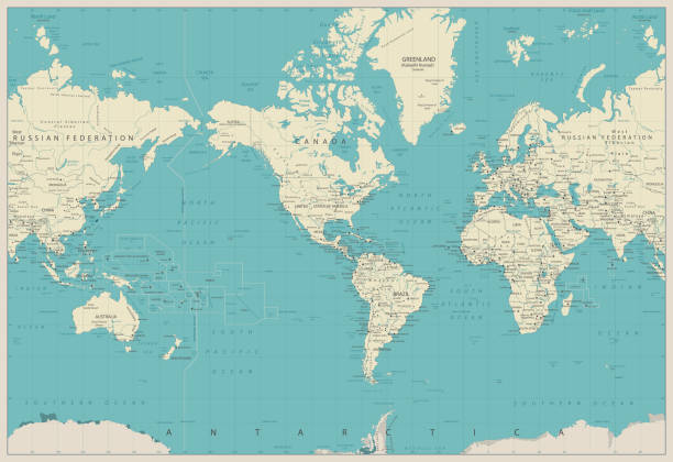 bildbanksillustrationer, clip art samt tecknat material och ikoner med världen karta americas centrerad karta. gamla färger. - map oceans