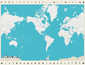 America Centered Political World Map No Text Stock Vector Art More