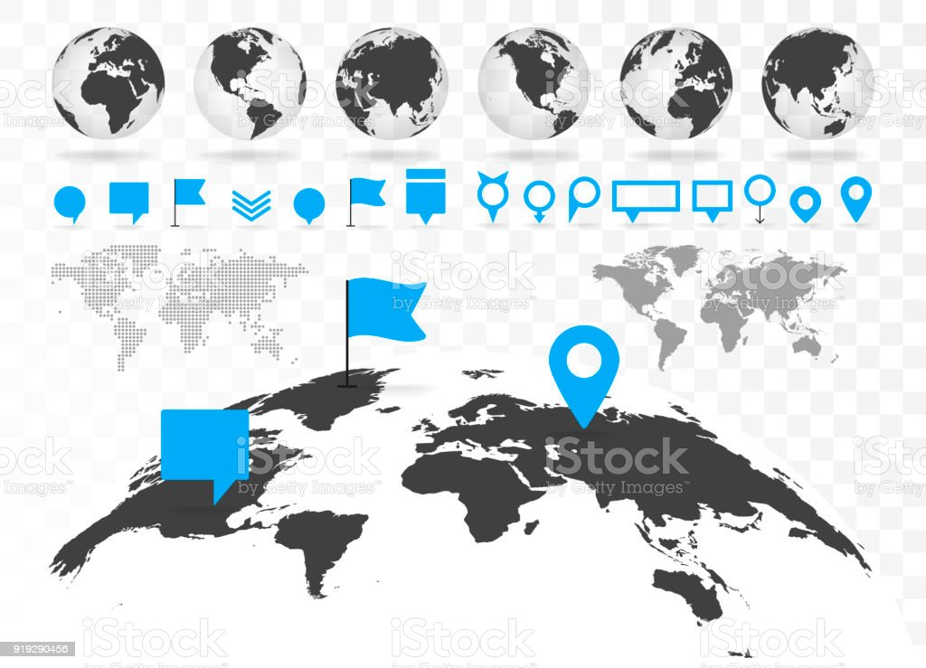 World map and 3D globe set with infographics elements. vector art illustration