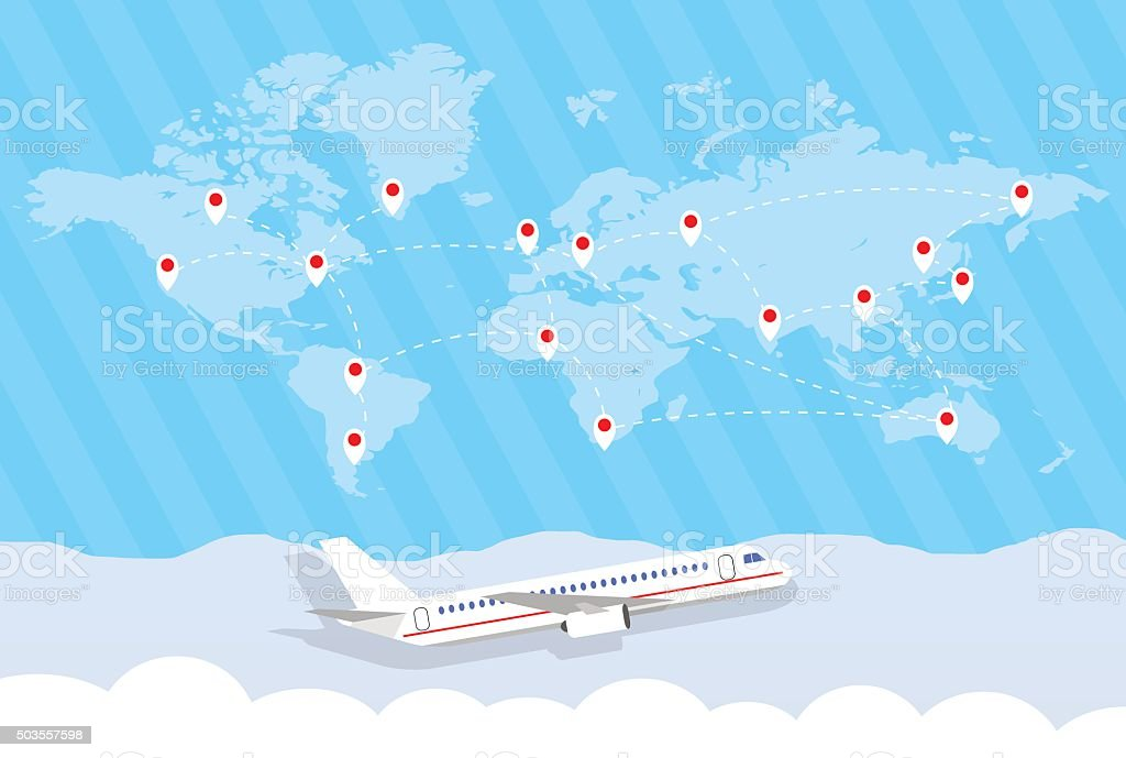 world map and airplane vector art illustration