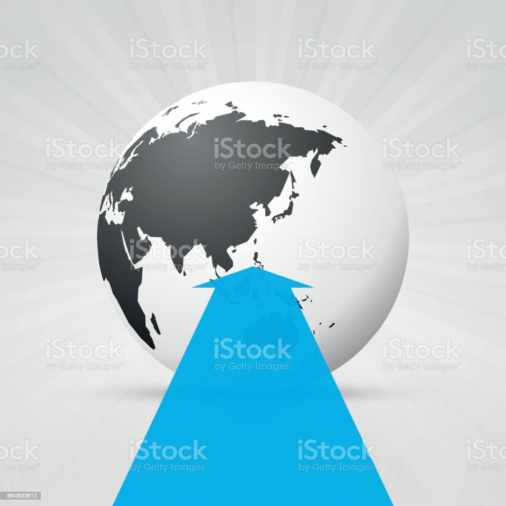 World map and blue arrow stock vector art more images of arrow world map and blue arrow royalty free world map and blue arrow stock vector art gumiabroncs Image collections