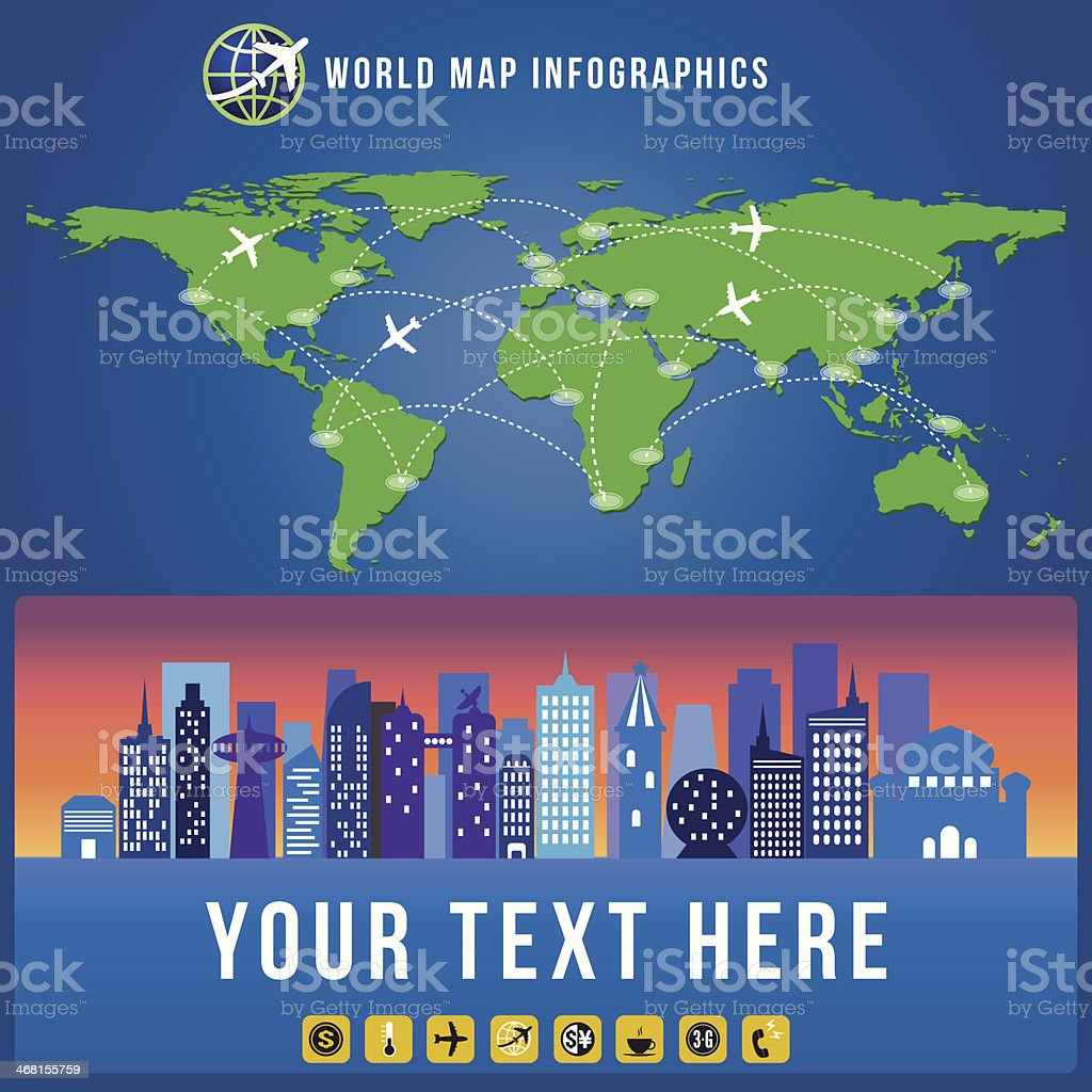 World map and city infographics vector format credit nasa stock world map and city infographics vector format credit nasa royalty free world gumiabroncs Images