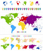 World Map and colorful continents with large navigation icon set