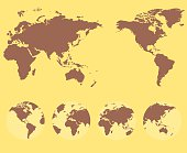 World map and compass of vector illustration