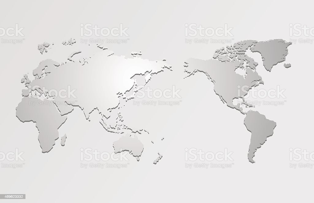 World map and compass of vector vector art illustration