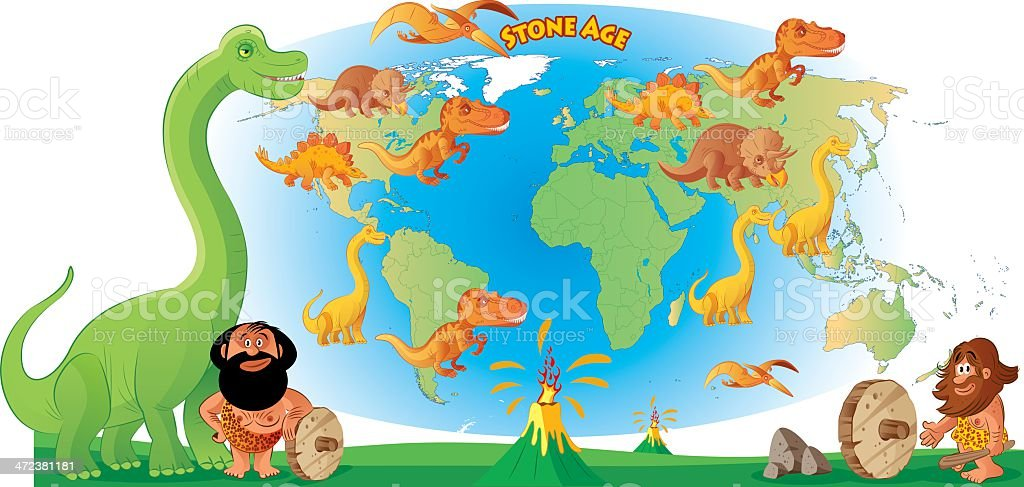 World map and Dinosour royalty-free stock vector art