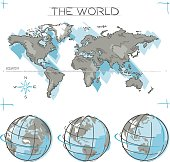 World Map and Earth Globe Sketches