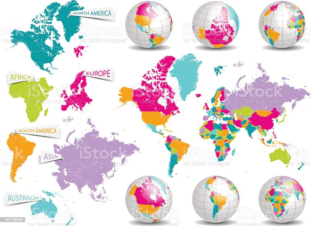 world map and earth globe vector set vector art illustration