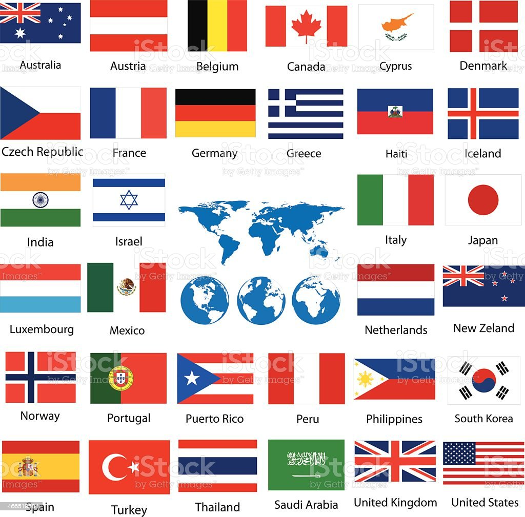 world map and flags vector art illustration