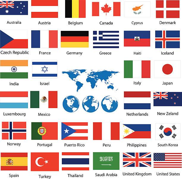 世界地図と旗 ベクターアートイラスト