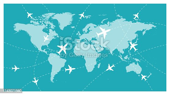 istock World Map and Global Airline - Vector 1143071560