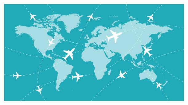 mapa świata i globalna linia lotnicza - wektor - podróżowanie stock illustrations