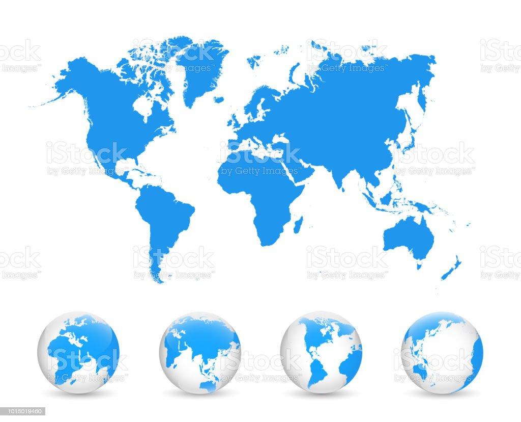 World Map And Globe Detail Vector Illustration Eps 10 Stock ...