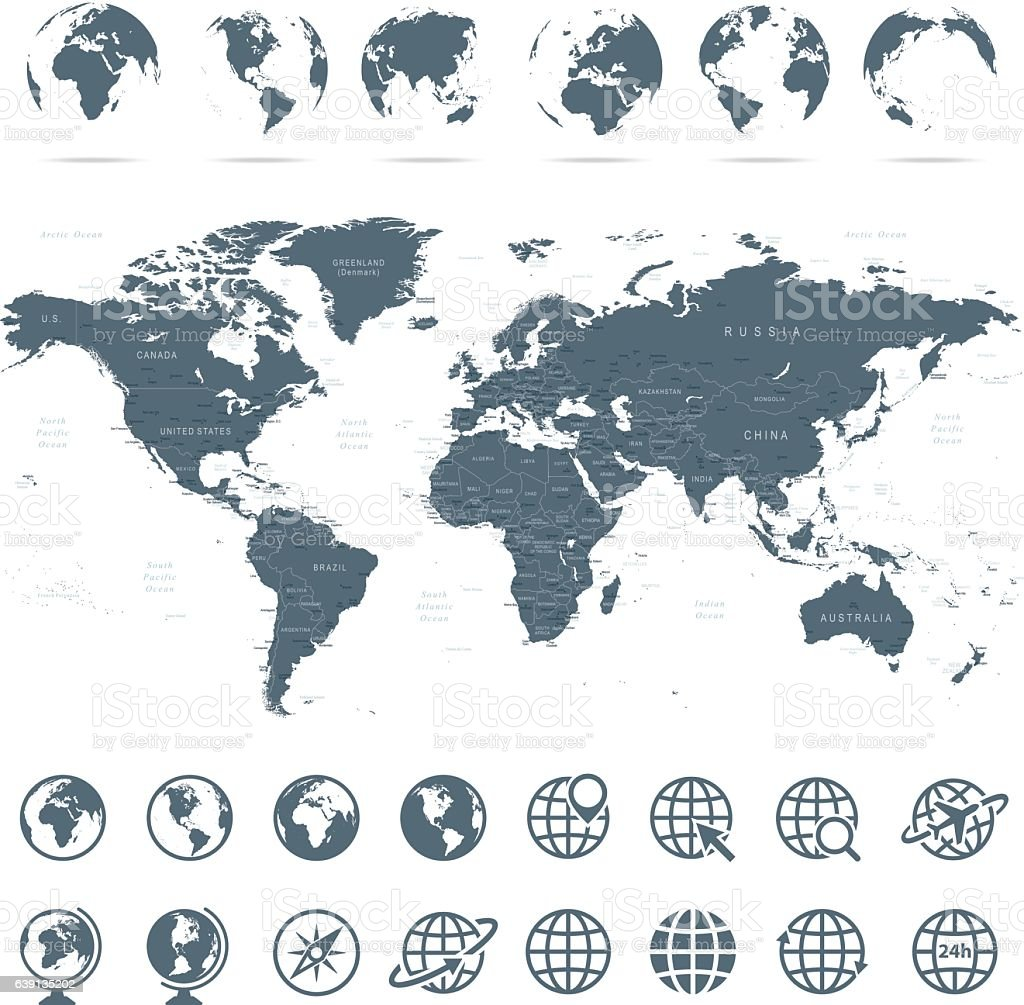 World map and globes icons illustration arte vectorial de stock y world map and globes icons illustration world map and globes icons illustration arte vectorial gumiabroncs Images
