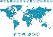 World Map and Globes - illustration