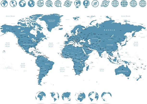 世界地図&地球儀-イラストレーション - アジア地図点のイラスト素材/クリップアート素材/マンガ素材/アイコン素材