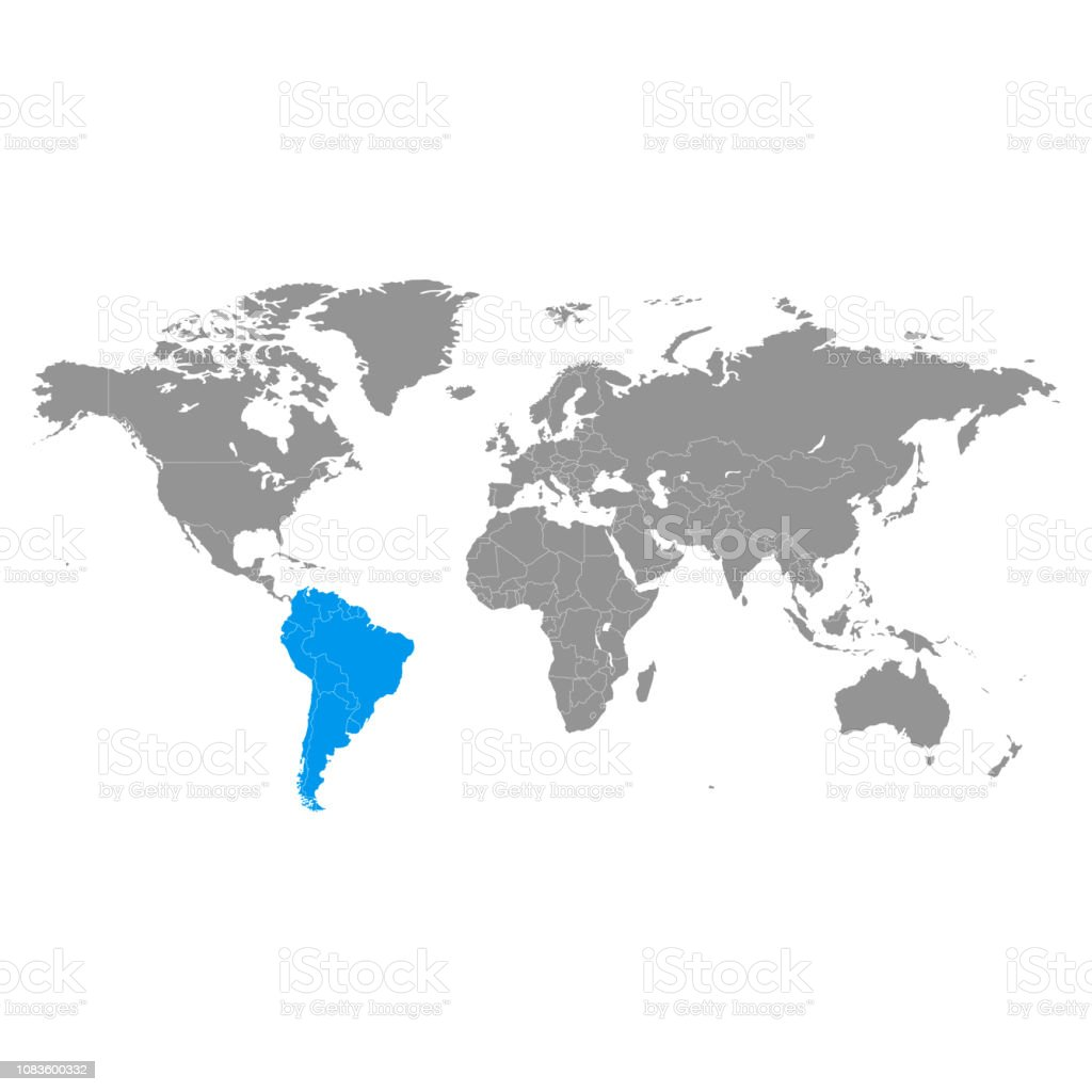 Picture of: World Map And Highlighted South America Blue Color Stock Illustration Download Image Now Istock