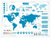 World Map and infograpchic elements. Vector illustration.