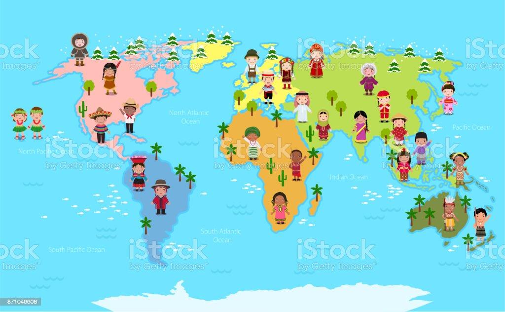 World map and kids of various nationalities stock vector art more world map and kids of various nationalities royalty free world map and kids of various gumiabroncs Choice Image