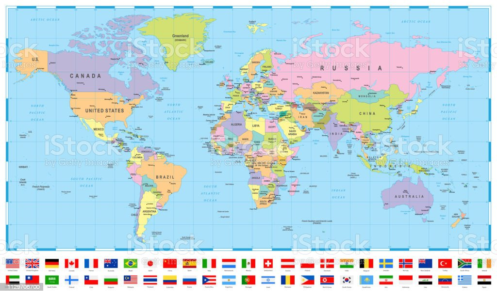 World Map And Most Popular Flags Borders Countries And Cities