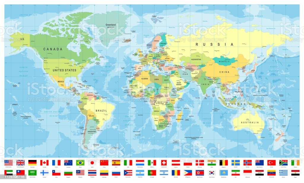 Map Of Canada And Surrounding Countries.World Map And Most Popular Flags Borders Countries And Cities