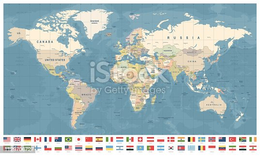 World Map and Most Popular Flags - borders, countries and cities - vintage vector illustration