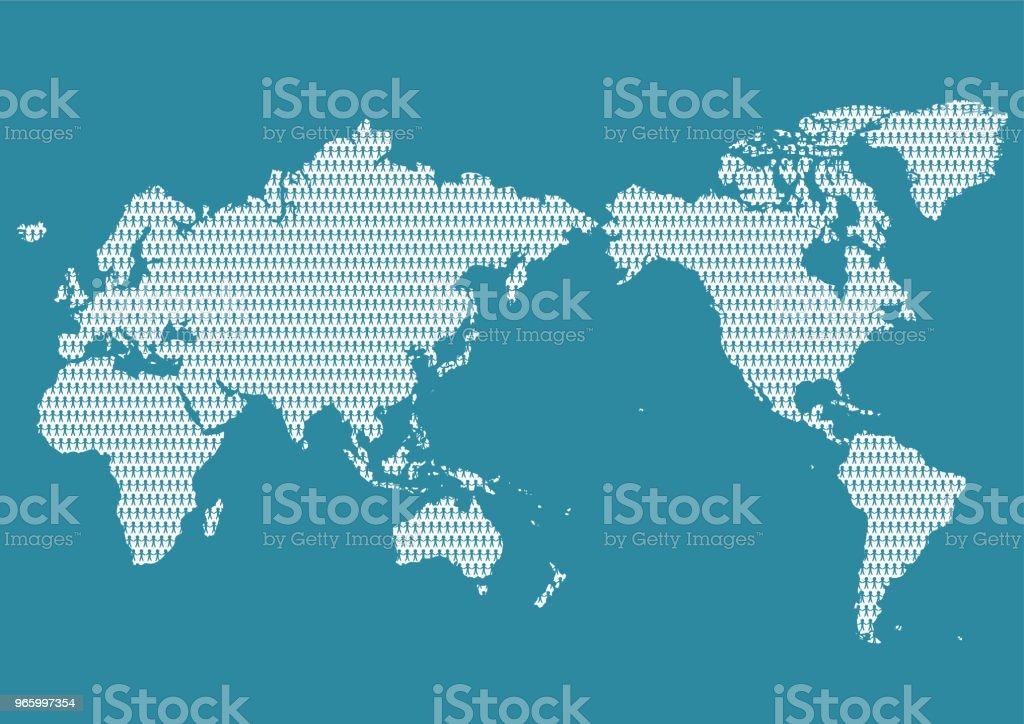Weltkarte und Menschen - Lizenzfrei Auswanderung und Einwanderung Vektorgrafik