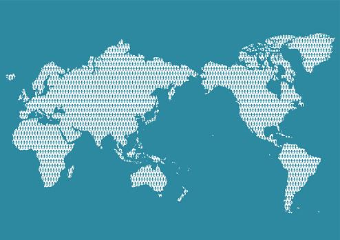 Kaart Van De Wereld En Mensen Stockvectorkunst en meer beelden van Bedrijfsleven