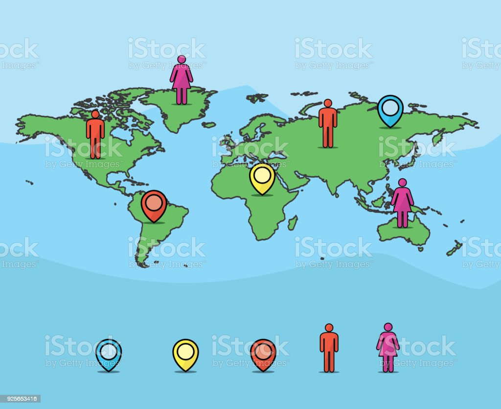 World map and pin icon cartoon illustration carton design style world map and pin icon cartoon illustration carton design style royalty free world map and gumiabroncs Image collections