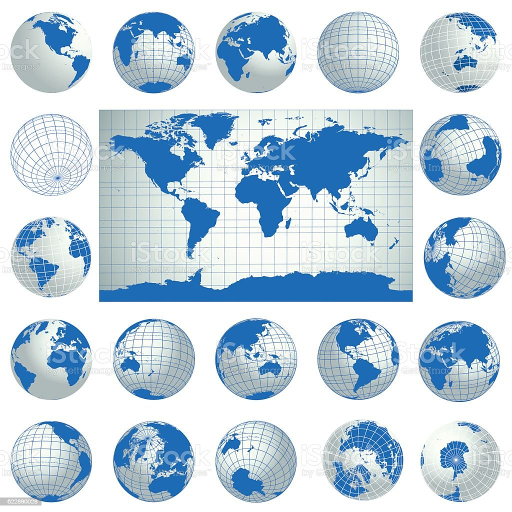 World map and set of blue globe icons. Vector vector art illustration
