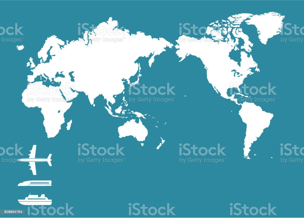 World map and traffic icon vector art illustration