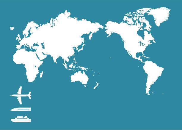 world map and traffic icon - アジア地図点のイラスト素材/クリップアート素材/マンガ素材/アイコン素材