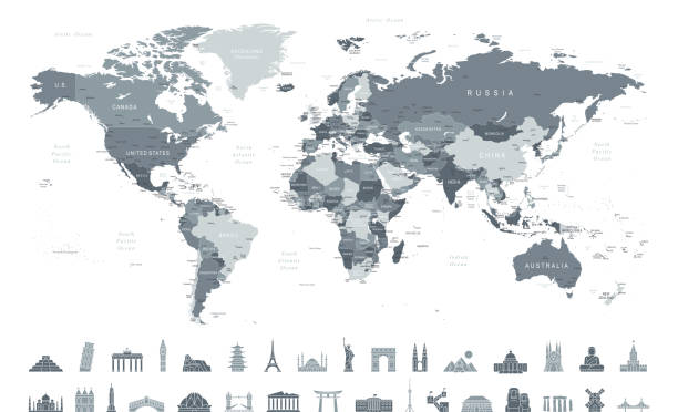 world map and travel icons - borders, countries and cities - vector illustration - world map stock illustrations, clip art, cartoons, & icons