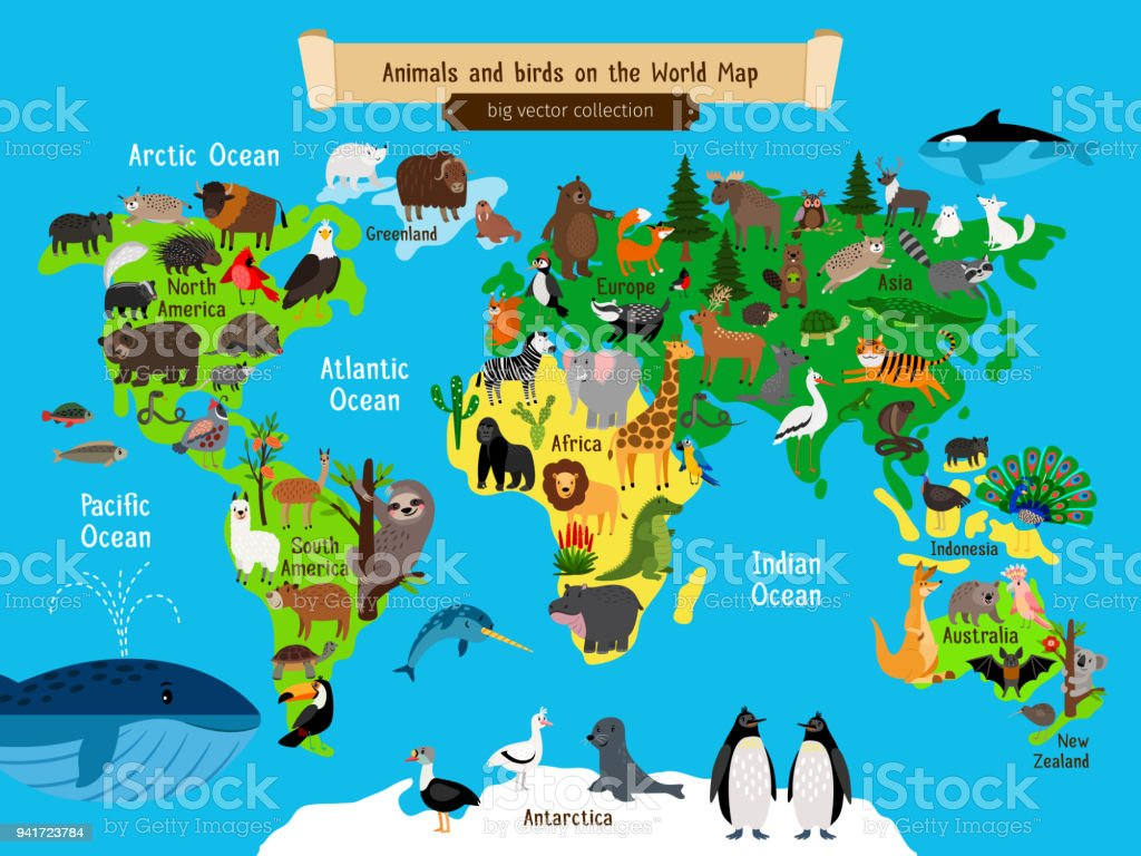 World map animals europe and asia south and north america australia world map animals europe and asia south and north america australia and africa gumiabroncs Choice Image