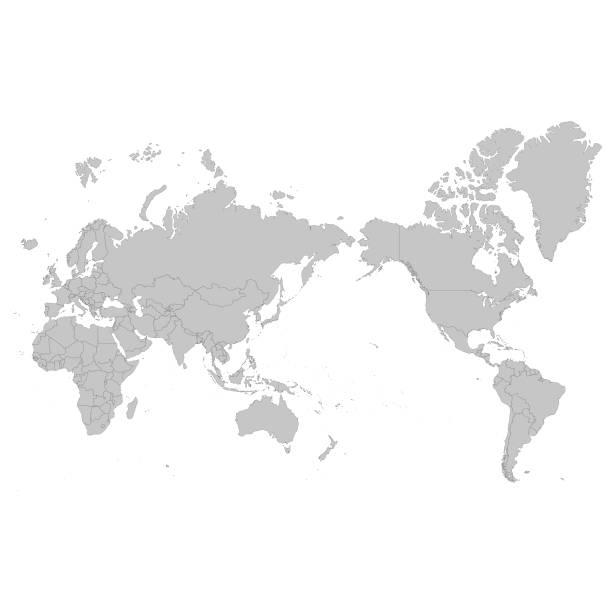 ilustrações de stock, clip art, desenhos animados e ícones de world map asia centered - oceano pacífico