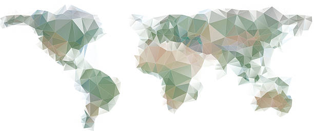 world map background in polygonal style. - target australia stock illustrations