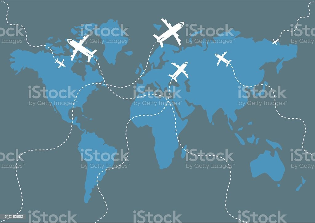 World Map Background with airplanes. vector art illustration