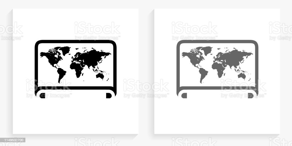 World Map Black and White Square Icon. This 100% royalty free vector...