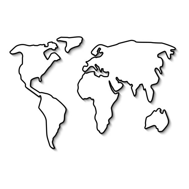 Royalty free world map hand drawn on white background clip art world map black line vector art illustration gumiabroncs Choice Image