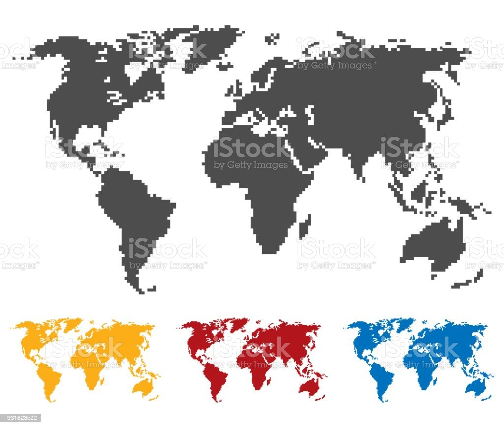 World map black yellow red blue color saddle or pixel structure world map black yellow red blue color saddle or pixel structure globe icon gumiabroncs Choice Image