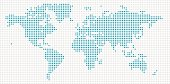 World Map Blue Dots
