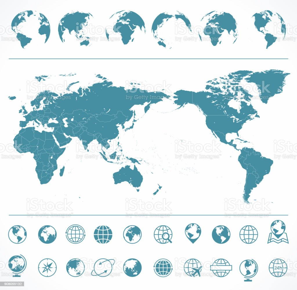 World Map Blue Green and Globes - Asia in Center vector art illustration