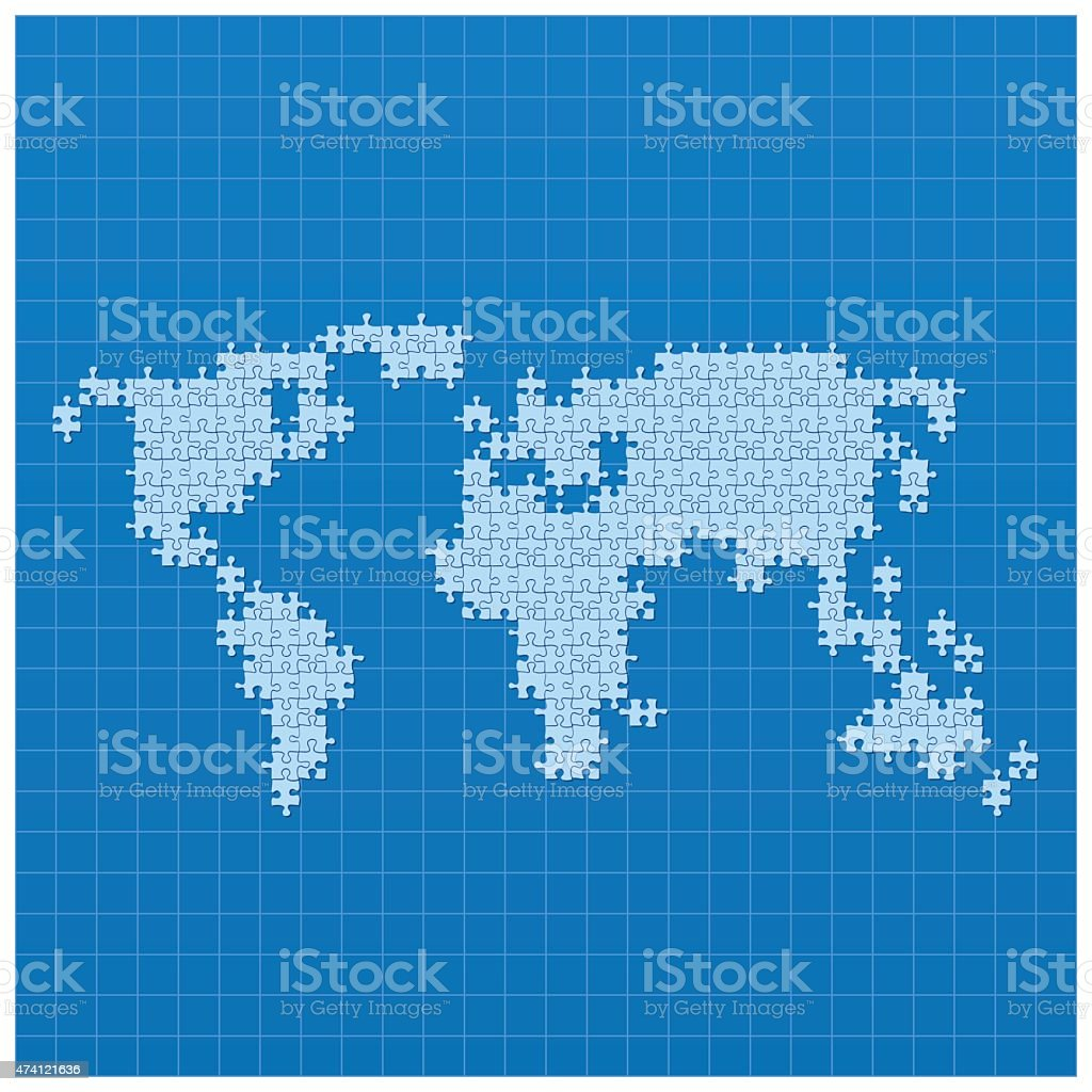 World map blue made of puzzle parts on blueprint stock vector art world map blue made of puzzle parts on blueprint royalty free stock vector art gumiabroncs Images
