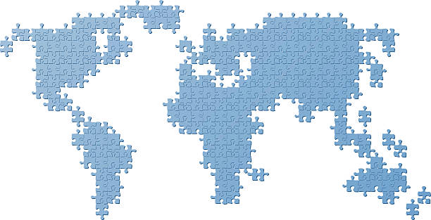 Royalty free world map puzzle clip art vector images world map blue made of puzzle parts vector art illustration gumiabroncs Images