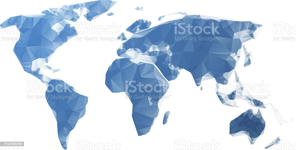 World map blue polygons vector art illustration
