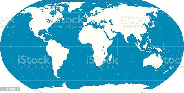 World Map Blue Stock Illustration - Download Image Now