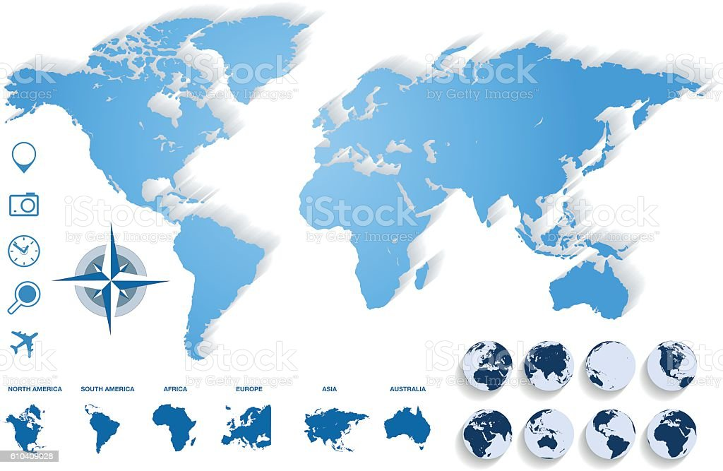 World Map Blue vector art illustration